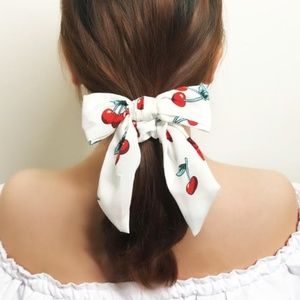 Red Cherry Pattern Print Hair Scarf Bow Scrunchie